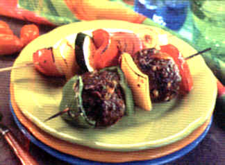 Grilled Bison and Vegetable Skewers